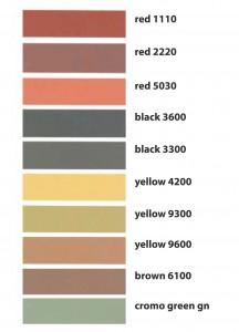 Cartella colori disponibili